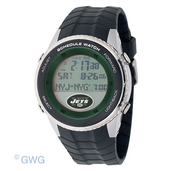 New York Jets Game Time NFL Schedule Digital Black Men's Watch MTO