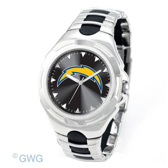 San Diego Chargers Football Radio: San Diego Chargers NFL Victory Silver Tone Men's Watch