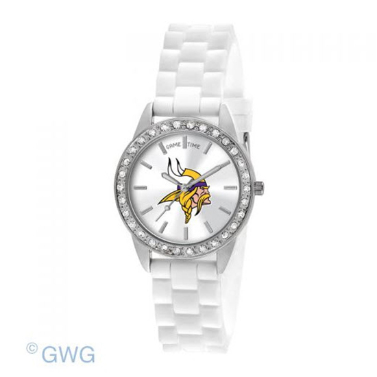Minnesota Vikings Game Time NFL Frost White Silicone Women's Watch MTO