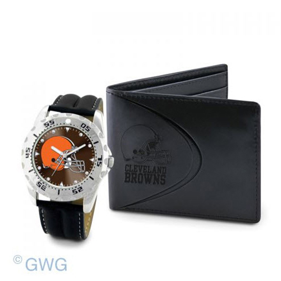 Cleveland Browns Game Time Black Leather Watch Bifold Wallet Gift Set MTO