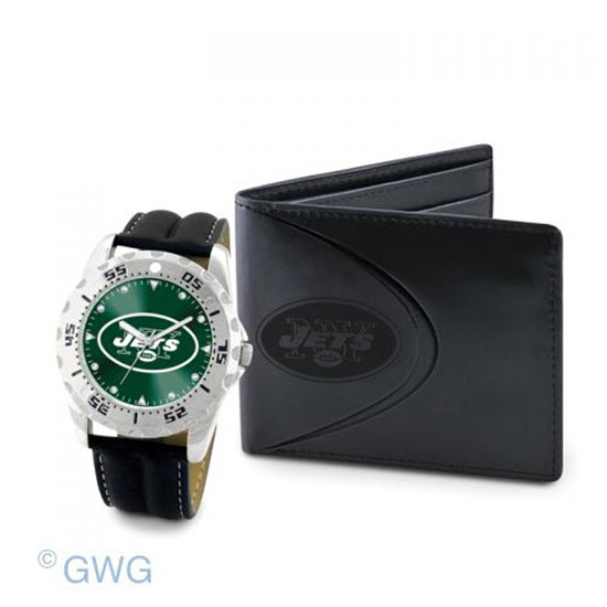New York Jets Game Time Black Leather Watch Bifold Wallet ...