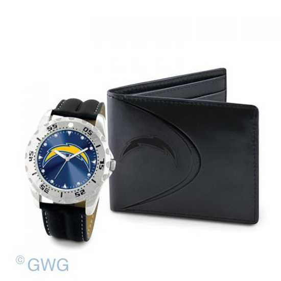 San Diego Chargers Game Time Black Leather Watch Bifold Wallet Gift Set MTO