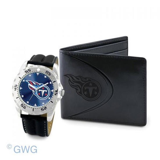 Tennessee Titans Game Time Black Leather Watch Bifold Wallet Gift Set MTO