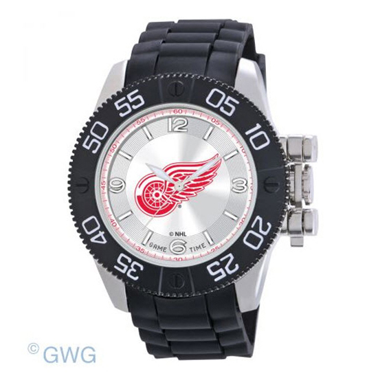 Detroit Red Wings Game Time NHL Beast Black Polyurethane Men Watch MTO