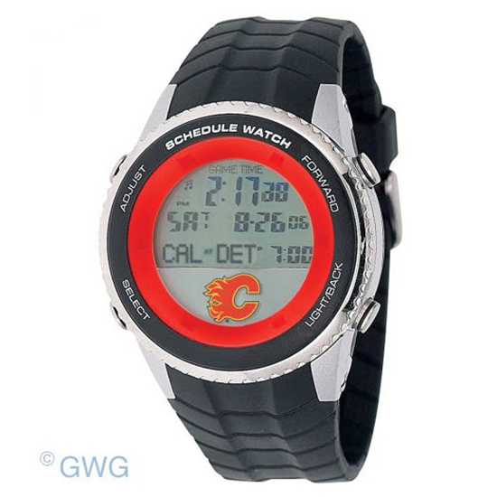 Calgary Flames Game Time NHL Schedule Digital Black Men's Watch MTO