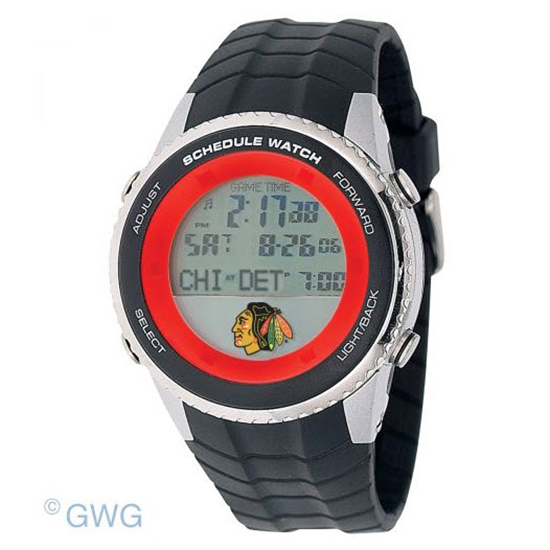 Chicago Blackhawks Game Time NHL Schedule Digital Black Men's Watch MTO