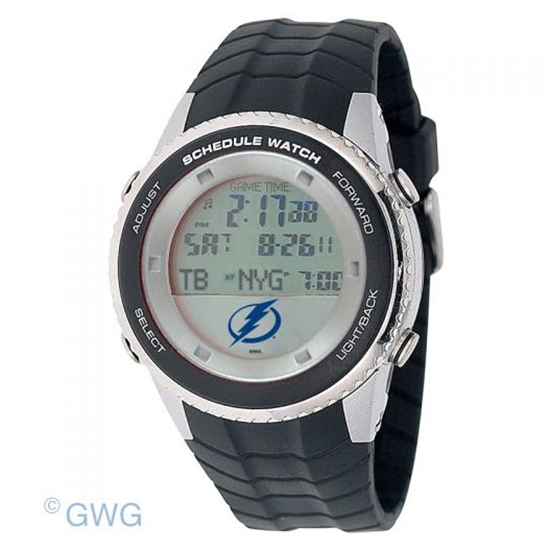 Tampa Bay Lightning Game Time NHL Schedule Digital Black Men's Watch MTO
