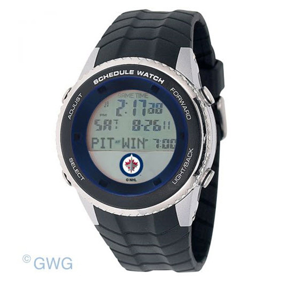 Winnipeg Jets Game Time NHL Schedule Digital Black Men's Watch MTO
