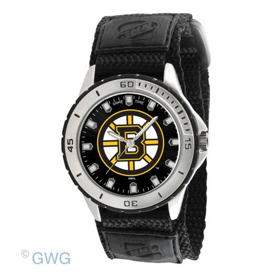 Boston Bruins Game Time NHL Veteran Black Nylon Men's Watch MTO
