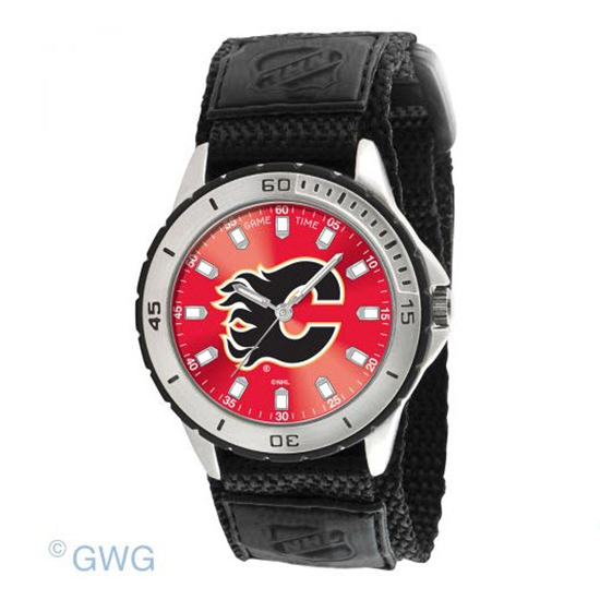 Calgary Flames Game Time NHL Veteran Black Nylon Men's Watch MTO