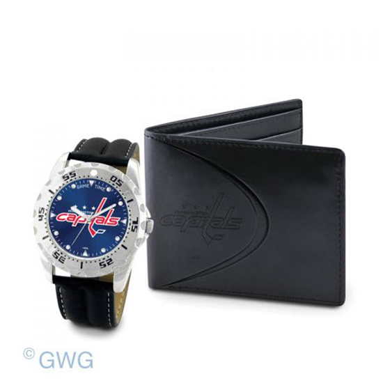 Washington Capitals Game Time Black Leather Watch Bifold Wallet Set MTO