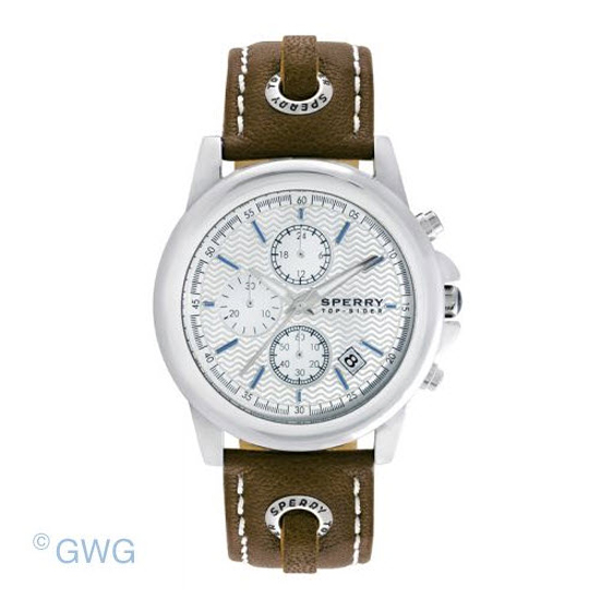 sperry top sider halyard 102039 brown leather chronograph
