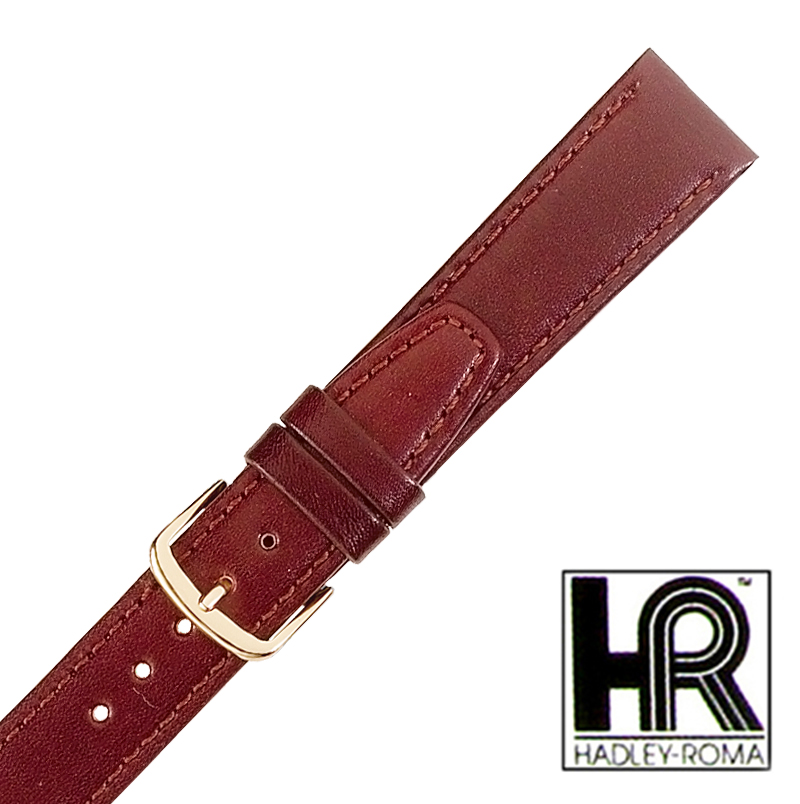 Hadley Roma MS709 18mm Long Brown Stitched Genuine Leather Strap Watch Band SPO