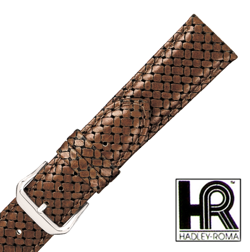 Hadley Roma MS843 18mm Brown Woven Braided Stitched Gen Leather Watch Band SPO