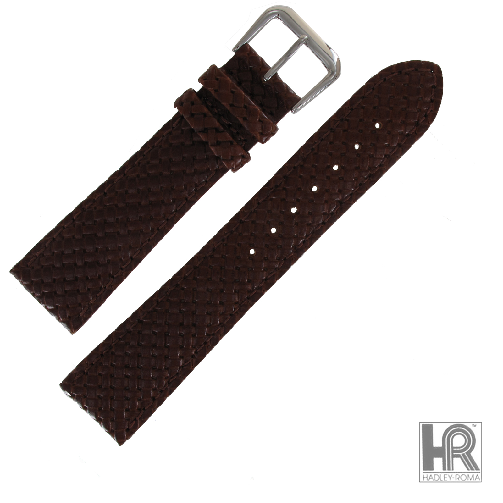 Hadley Roma MS843 18mm Tan Woven Braided Stitched Genuine Leather Watch Band