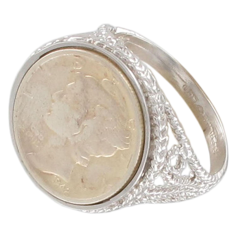 Usa Coin Sterling Silver 925 Mercury Dime 1942 Sz 13
