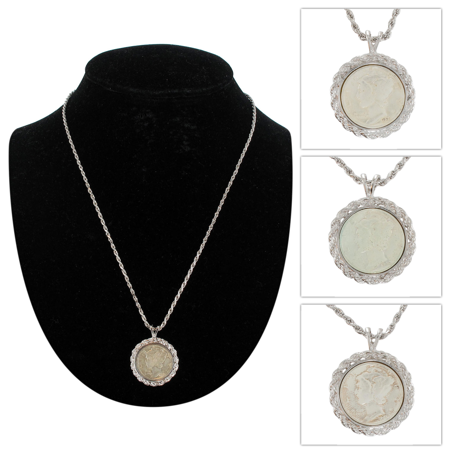 usa coin necklace sterling silver 925 mercury dime pendant