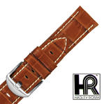 Hadley Roma MS2035 24mm Tan Alligator Grain Contrast Stitch Watch Band SPO