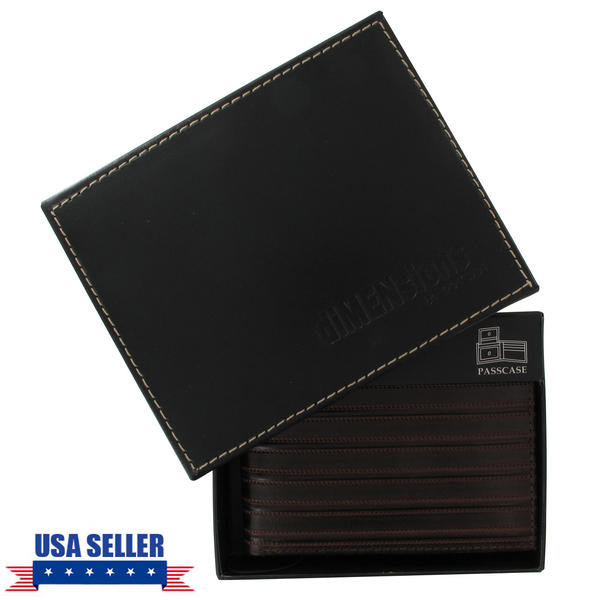 Men's Dark Brown Tooled Genuine Leather Wallet Dimensions by WCM