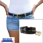 WCM Black Kara Croco Grain Leather Ladies Belt Interchangeable Buckles Size XL Thumbnail 1
