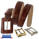 WCM Tan Kara Croco Grain Leather Ladies Belt Interchangeable Buckles Size Medium Thumbnail 1