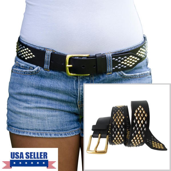 WCM Black Leather Diamond Shaped Multi Color Stud Jean Belt Size Small