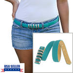 WCM Turquoise Leather Safia Skinny Ladies Belt Multi Silver Tone Keepers Size Large Thumbnail 1