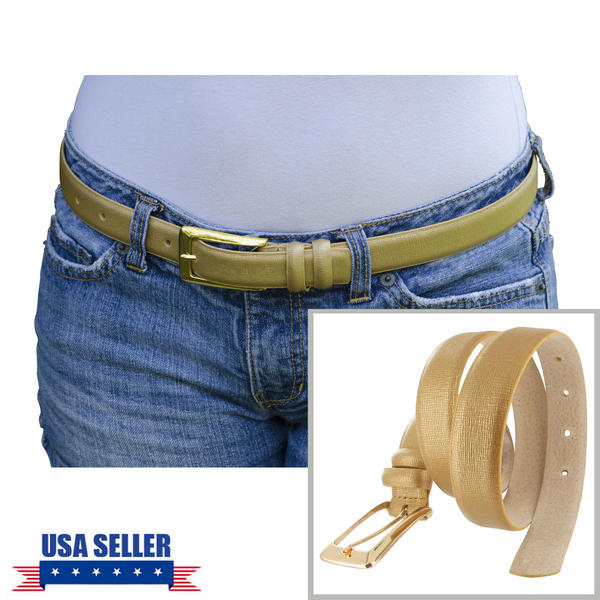 WCM Gold Italian Saffiano Leather Skinny Ladies Belt Gold Tone Buckle Size Medium