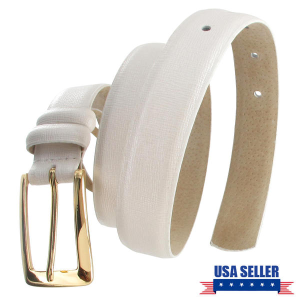 WCM Platinum White Italian Saffiano Leather Skinny Ladies Belt Gold Tone Buckle Size Small