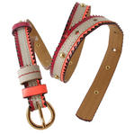 Nanette Lepore Gold Tone Studded Skinny Red Tribal Belt Size Extra Small Thumbnail 5
