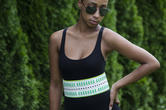 Nanette Lepore Wide Tribal Runway Belt Vachetta Green White Size XL Thumbnail 2