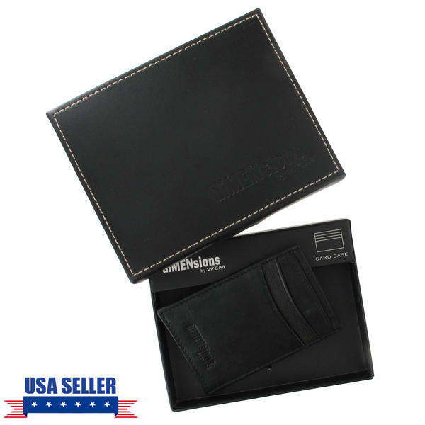 Black Genuine Leather Credit Card Holder Men's Dimensions by WCM