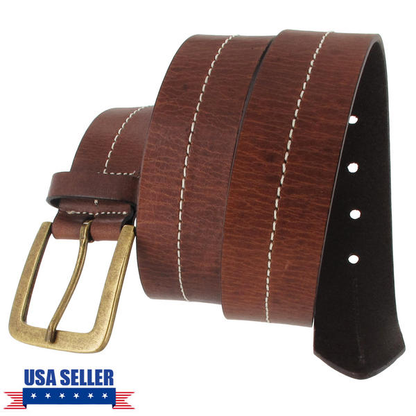 Via Spiga Brown Genuine Leather Mens Belt Contrast Stitched Size 38