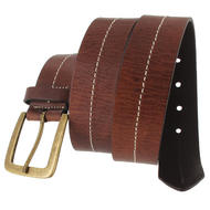 Via Spiga Brown Genuine Leather Mens Belt Contrast Stitched Size 38 Thumbnail 3