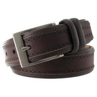 Via Spiga Brown Genuine Leather Mens Belt Embossed Stitched Size 42 Thumbnail 3