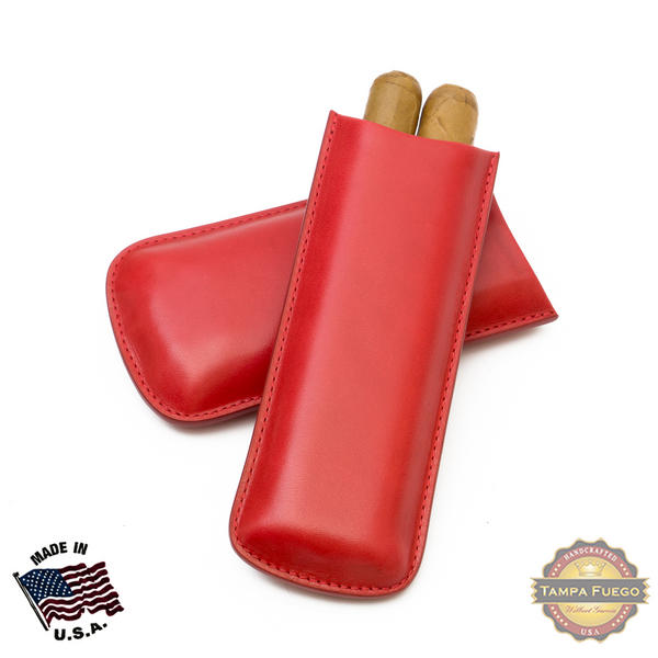 Tampa Fuego Cigar Case Genuine Leather Red Unlined Two Finger Father's Day