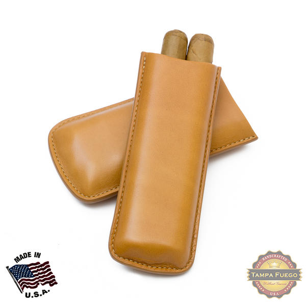 Tampa Fuego Cigar Case Genuine Leather Natural Unlined Two Finger Father's Day