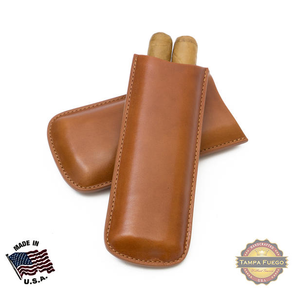 Tampa Fuego Cigar Case Genuine Leather Cognac Unlined Two Finger Father's Day