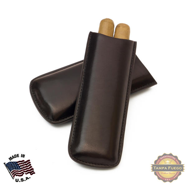 Tampa Fuego Cigar Case Genuine Leather Brown Unlined Two Finger Father's Day