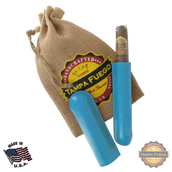 Tampa Fuego Cigar Case Genuine Leather Pale Blue Lined Single Father's Day