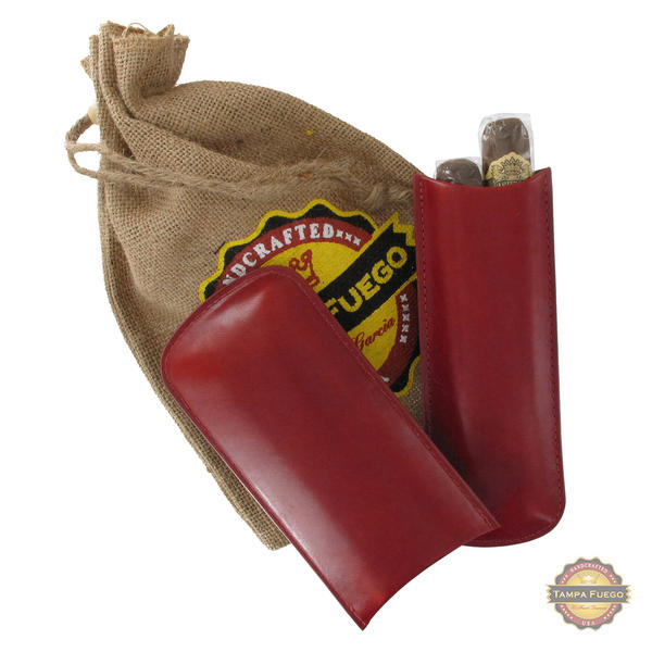 Tampa Fuego Cigar Case Genuine Leather Red Lined Two Finger- SPO