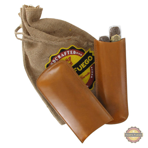 Tampa Fuego Cigar Case Genuine Leather Natural Lined Two Finger- SPO