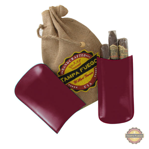 Tampa Fuego Cigar Case Genuine Leather Burgundy Lined Big 3 Finger - SPO
