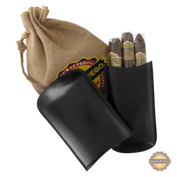 Tampa Fuego Cigar Case Genuine Leather Black Lined Big 3 Finger