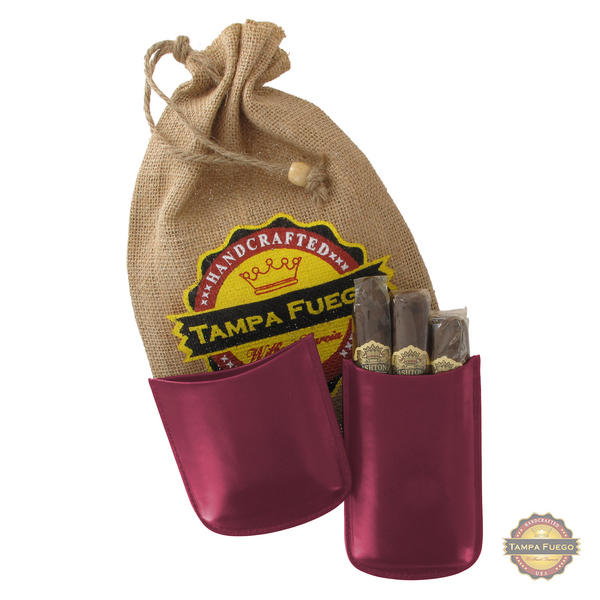 Tampa Fuego Cigar Case Genuine Leather Burgundy Lined Robusto