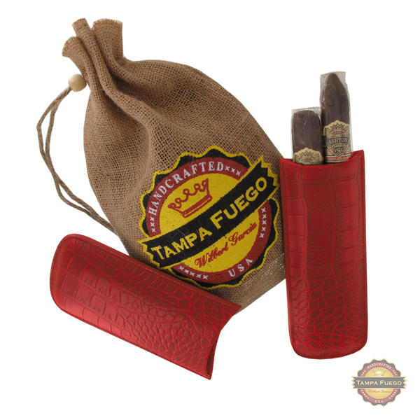 Tampa Fuego Cigar Case Crocodile Grain Genuine Leather Red Two Finger
