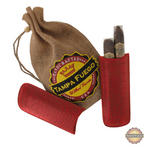 Tampa Fuego Cigar Case Crocodile Grain Genuine Leather Red Two Finger Thumbnail 1