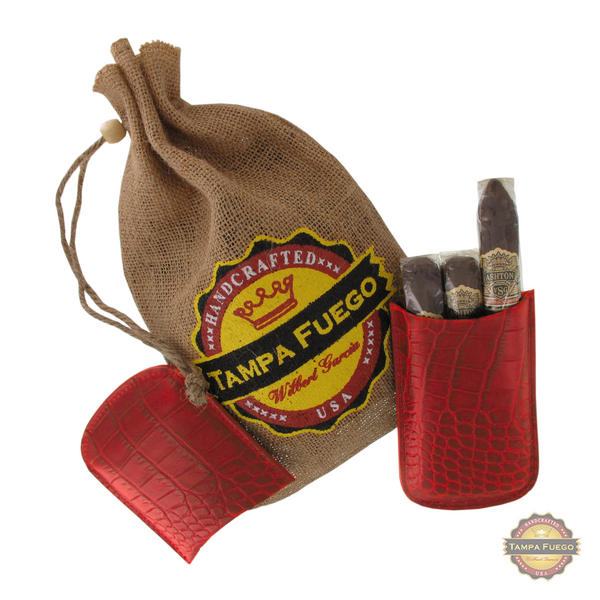 Tampa Fuego Cigar Case Crocodile Grain Genuine Leather Red Robusto - SPO