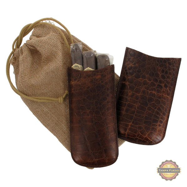 Tampa Fuego Cigar Case Crocodile Grain Genuine Leather Brown Big 3 Finger- SPO