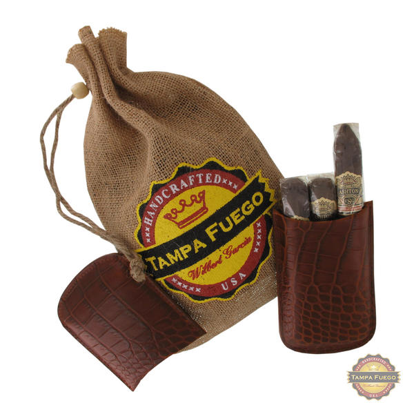 Tampa Fuego Cigar Case Crocodile Grain Genuine Leather Cognac Robusto- SPO